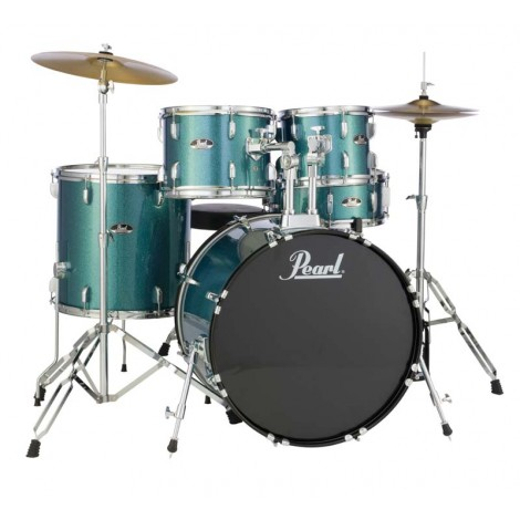 Pearl Roadshow 5 piece Drum kit with Stands and Cymbals - Aqua Glitter Blue